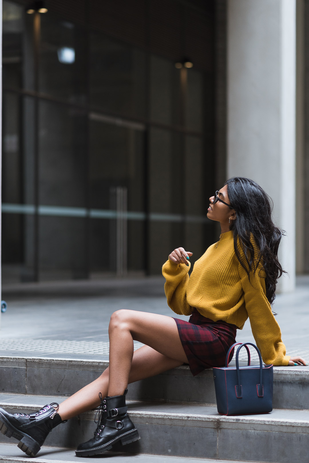 Mustard Jumper Outfit Sitting