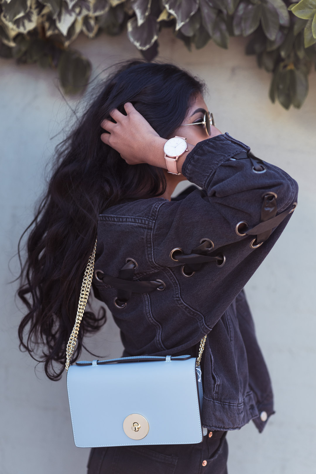 Black Denim Jacket Outfit Close Up